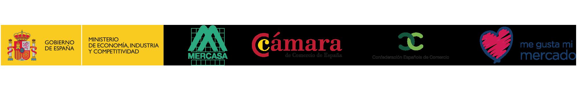 Ministerio de Economía, industria y competitividad, Mercasa, Cámara de Comercio de España, Confederación española de comercio, me gusta mi mercado